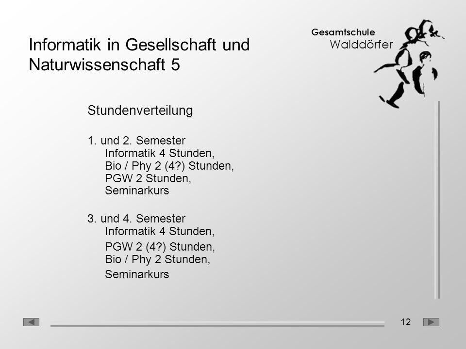 12 Gesamtschule Walddörfer Stundenverteilung 1. und 2. Semester Informatik 4 Stunden, Bio / Phy 2 (4?) Stunden, PGW 2 Stunden, Seminarkurs 3. und 4. S