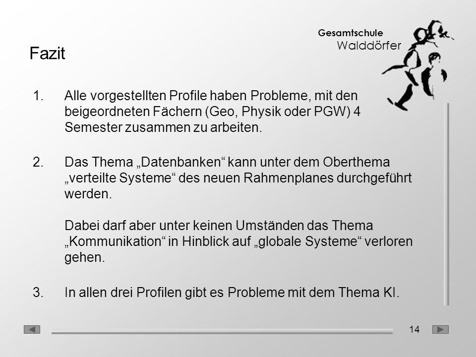 14 Gesamtschule Walddörfer Fazit 1.Alle vorgestellten Profile haben Probleme, mit den beigeordneten Fächern (Geo, Physik oder PGW) 4 Semester zusammen