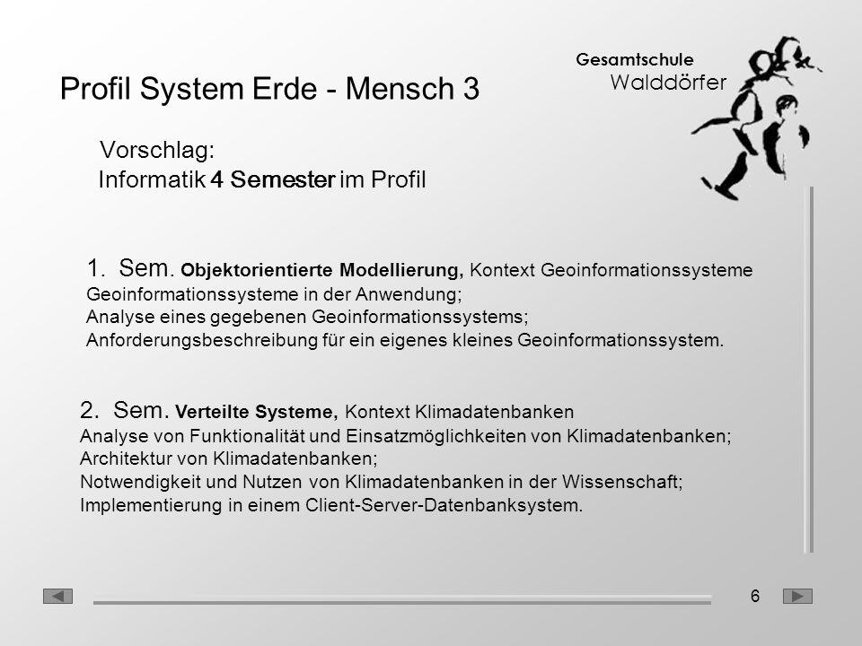 6 Gesamtschule Walddörfer Profil System Erde - Mensch 3 Vorschlag: Informatik 4 Semester im Profil 1.Sem. Objektorientierte Modellierung, Kontext Geoi