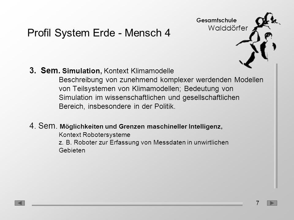 7 Gesamtschule Walddörfer 3. Sem. Simulation, Kontext Klimamodelle Beschreibung von zunehmend komplexer werdenden Modellen von Teilsystemen von Klimam