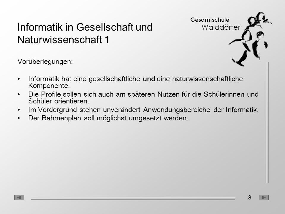8 Gesamtschule Walddörfer Informatik in Gesellschaft und Naturwissenschaft 1 Vorüberlegungen: Informatik hat eine gesellschaftliche und eine naturwiss