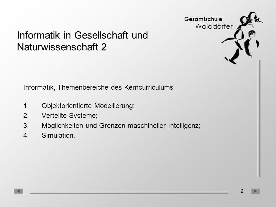 9 Gesamtschule Walddörfer Informatik, Themenbereiche des Kerncurriculums 1.Objektorientierte Modellierung; 2.Verteilte Systeme; 3.Möglichkeiten und Gr