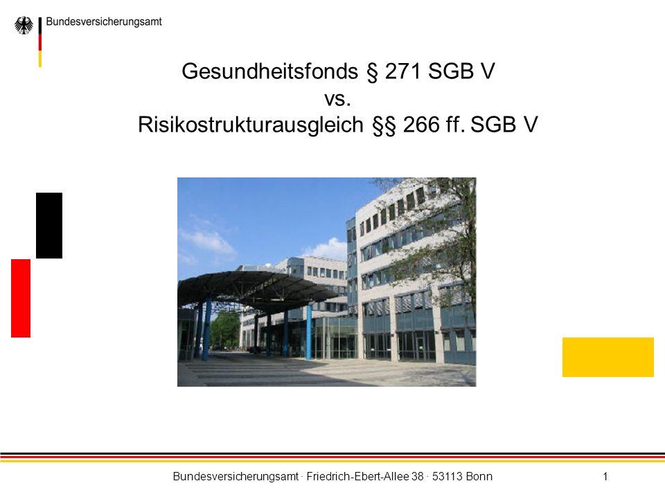 Bundesversicherungsamt · Friedrich-Ebert-Allee 38 · 53113 Bonn1 Gesundheitsfonds § 271 SGB V vs. Risikostrukturausgleich §§ 266 ff. SGB V