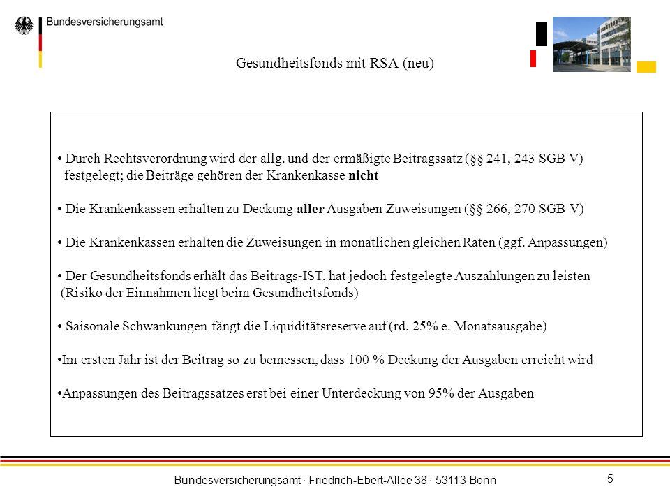 Bundesversicherungsamt · Friedrich-Ebert-Allee 38 · 53113 Bonn 6 Reichen die Zuweisungen zur Deckung der tatsächlichen Leistungsausgaben nicht aus müssen Krankenkassen Zusatzbeiträge erheben; diese Beiträge gehören der Krankenkasse Der Jahresausgleich nach § 266 Abs.