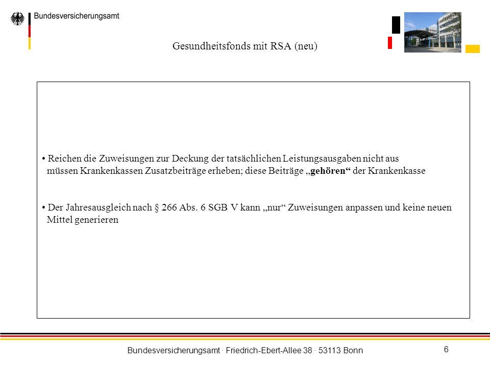 Bundesversicherungsamt · Friedrich-Ebert-Allee 38 · 53113 Bonn 7 Gesundheitsfonds § 271 SGB V Grundschema Info- Box Einzugsstellen der Krankenkassen und Direktzahler Meldung über die Soll-Beiträge Bank Elektronisches Multicash Verfahren Einzahlung der Ist- Beiträge Kontrolle und Plausiprüfungen Krankenkassen und Pflegefonds Zuweisung gem.