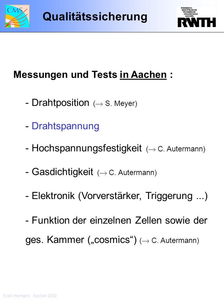 Qualitätssicherung Messungen und Tests in Aachen : - Drahtposition ( S. Meyer) - Drahtspannung - Hochspannungsfestigkeit ( C. Autermann) - Gasdichtigk