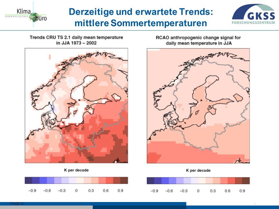 PAGE 10 Derzeitige und erwartete Trends: mittlere Sommertemperaturen
