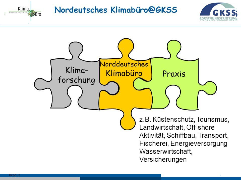 PAGE 11 Praxis Klima- forschung Norddeutsches Klimabüro Nordeutsches Klimabüro@GKSS Norddeutsches Klimabüro schließt Lücke zwischen Klimaforschung und