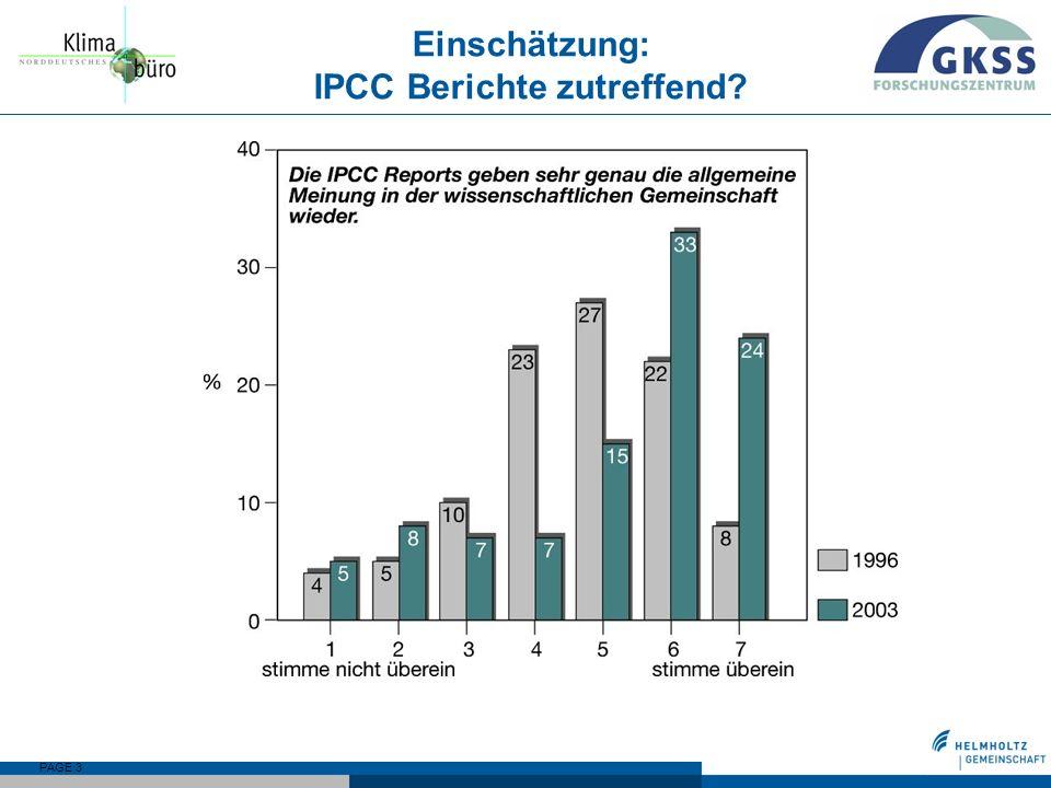 PAGE 3 Einschätzung: IPCC Berichte zutreffend?