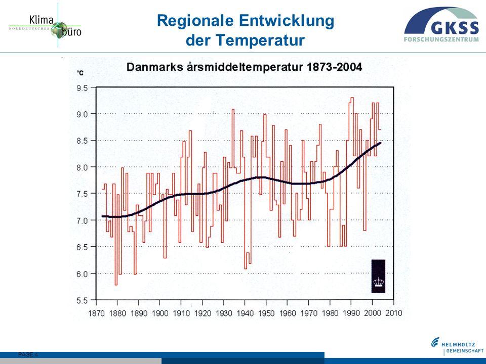 PAGE 4 Regionale Entwicklung der Temperatur