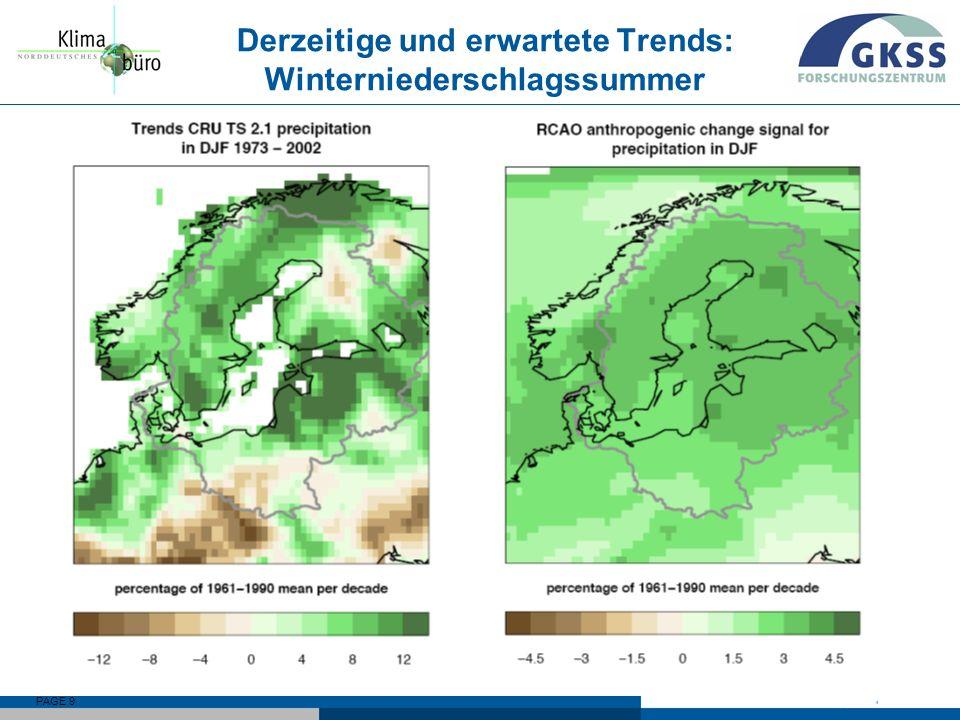 PAGE 9 Derzeitige und erwartete Trends: Winterniederschlagssummer Δ=0.05%