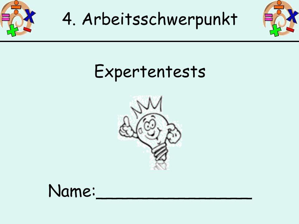 4. Arbeitsschwerpunkt Expertentests Name:_______________