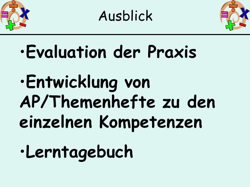 Evaluation der Praxis Entwicklung von AP/Themenhefte zu den einzelnen Kompetenzen Lerntagebuch Ausblick