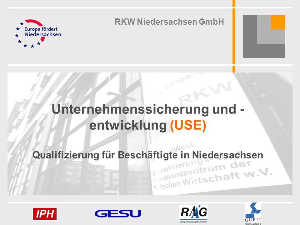 1 1 Unternehmenssicherung und - entwicklung (USE) Qualifizierung für Beschäftigte in Niedersachsen RKW Niedersachsen GmbH