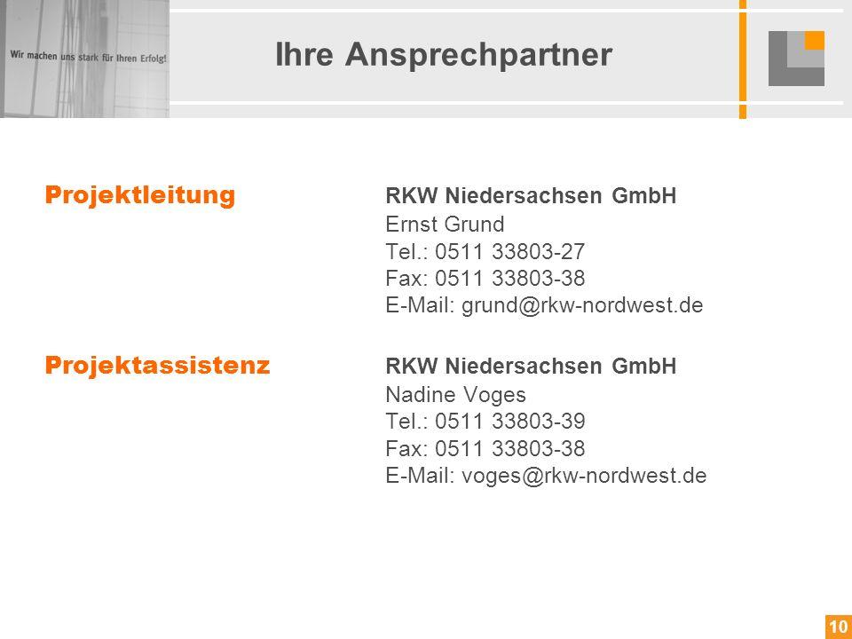 10 Projektleitung RKW Niedersachsen GmbH Ernst Grund Tel.: 0511 33803-27 Fax: 0511 33803-38 E-Mail: grund@rkw-nordwest.de Projektassistenz RKW Nieders
