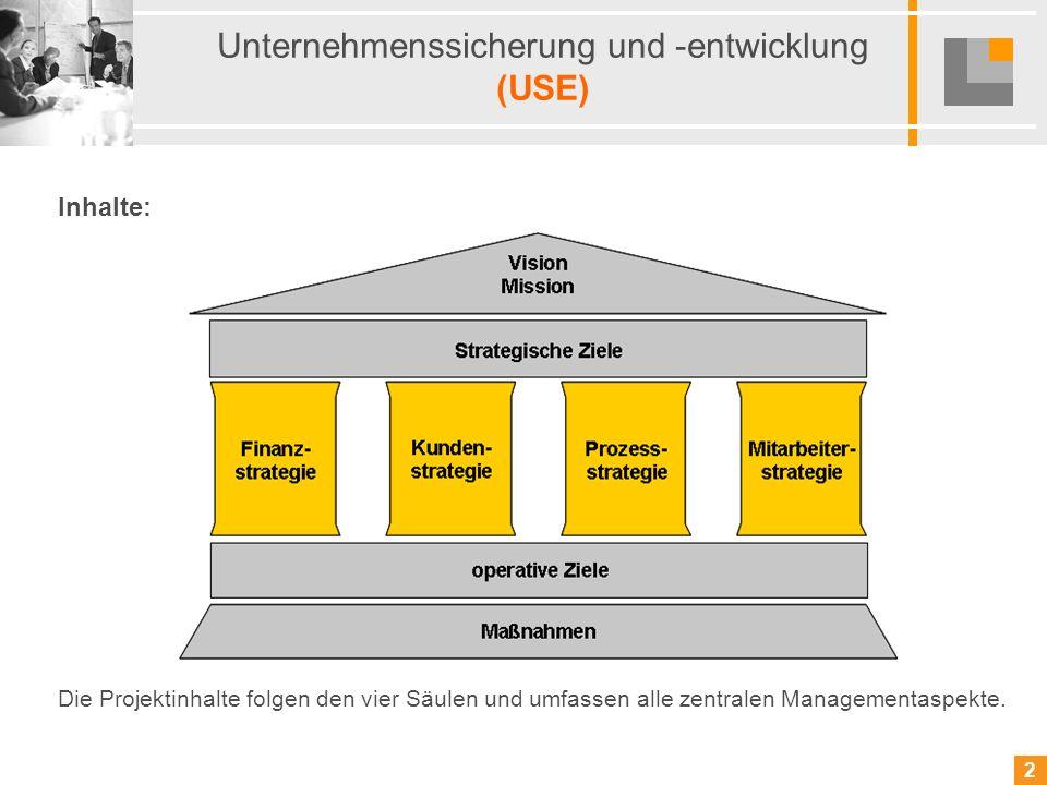 3 3 Unternehmenssicherung und -entwicklung (USE) Basisqualifizierung 1: Strategie / Finanzen, Markt / Kunden Strategisches Management, Vision und Mission Balanced Scorecard Rolle des permanenten Anpassungsprozesses Bedeutung von BASEL II (Rating, Risikoanalyse, Liquiditätsplanung, Monitoringsysteme) Rolle des Managements in Veränderungsprozessen (Szenarien, Führungsprinzipien, Strategien) Betriebsverfassungsrechtliche Grundlagen im Rahmen von Änderungen Unternehmenssicherung durch Alleinstellungsmerkmale Unternehmensentwicklung durch Markt- und Kundenanalysen