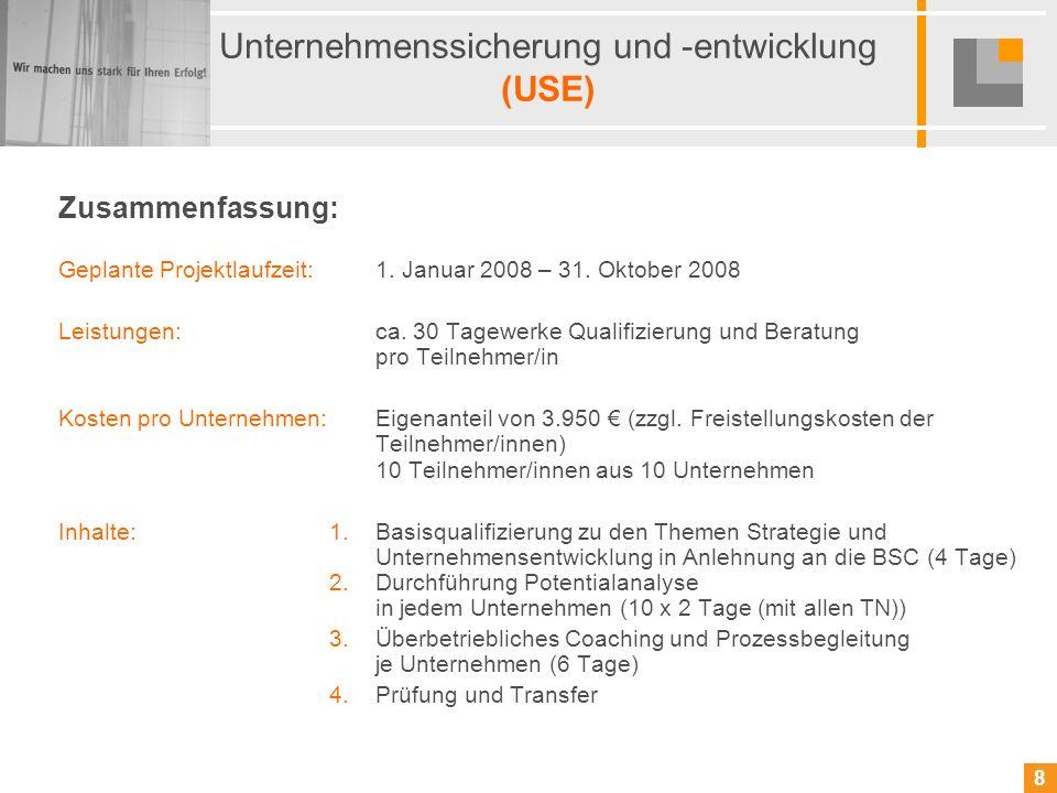 8 8 Unternehmenssicherung und -entwicklung (USE) Zusammenfassung: Geplante Projektlaufzeit: 1. Januar 2008 – 31. Oktober 2008 Leistungen:ca. 30 Tagewe