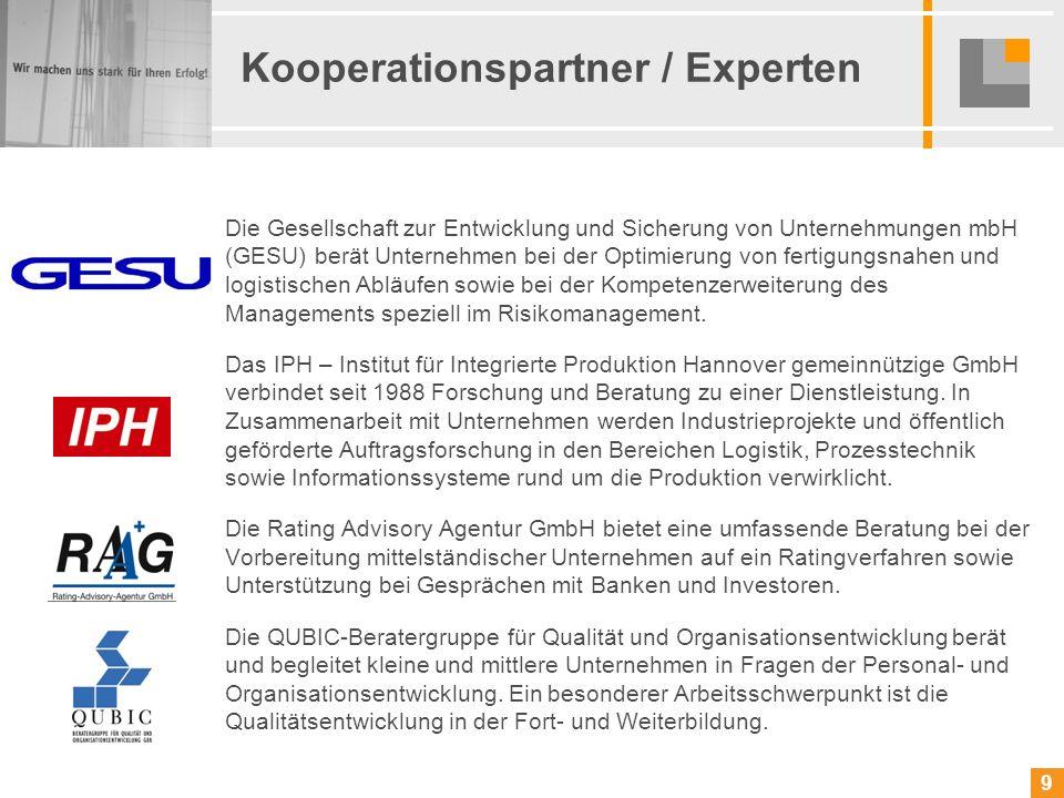 9 9 Kooperationspartner / Experten Die Gesellschaft zur Entwicklung und Sicherung von Unternehmungen mbH (GESU) berät Unternehmen bei der Optimierung