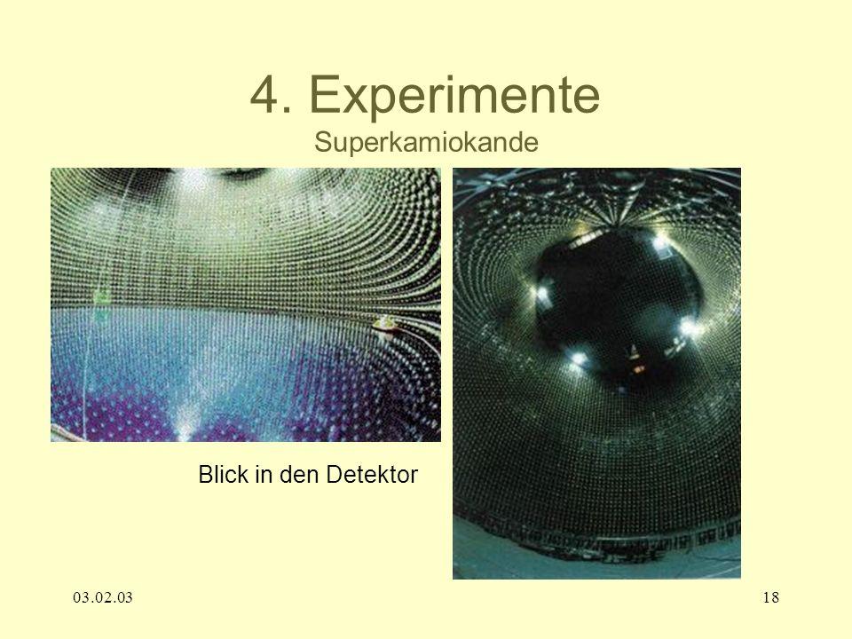 03.02.0318 4. Experimente Superkamiokande Blick in den Detektor