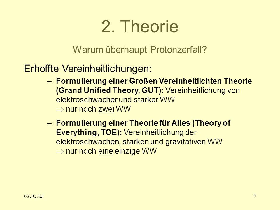 03.02.037 2. Theorie Warum überhaupt Protonzerfall? Erhoffte Vereinheitlichungen: –Formulierung einer Großen Vereinheitlichten Theorie (Grand Unified
