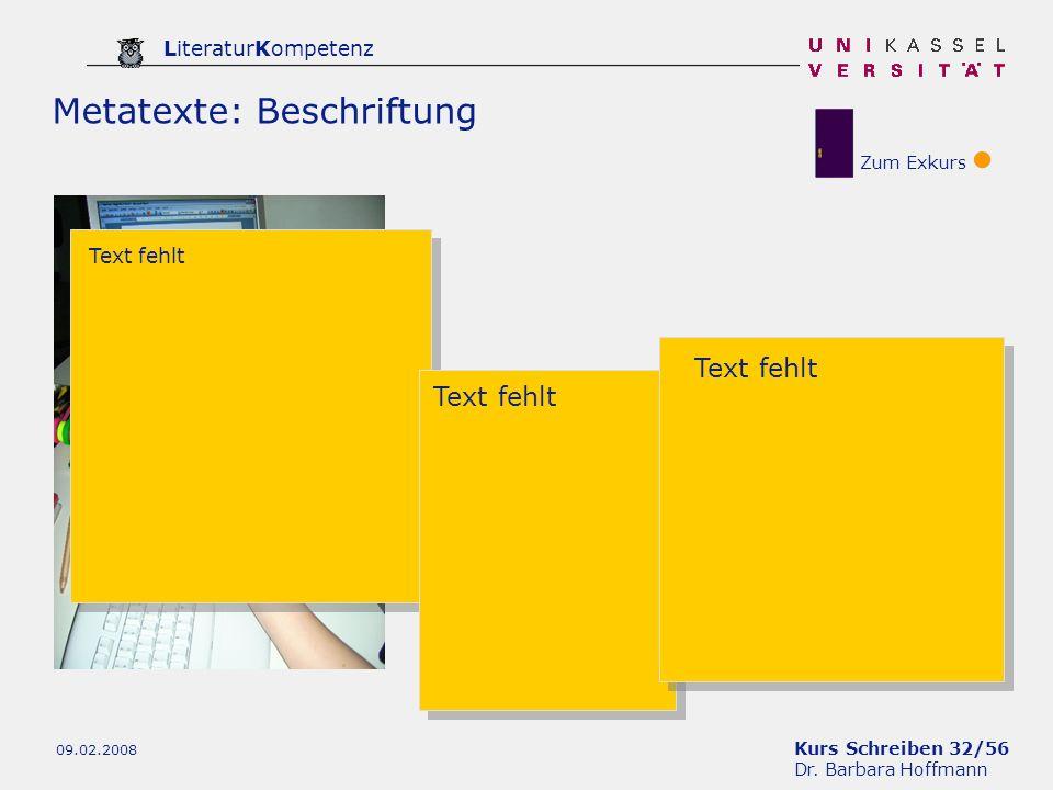 Kurs Schreiben 32/56 Dr. Barbara Hoffmann LiteraturKompetenz 09.02.2008 Metatexte: Beschriftung Zum Exkurs Text fehlt