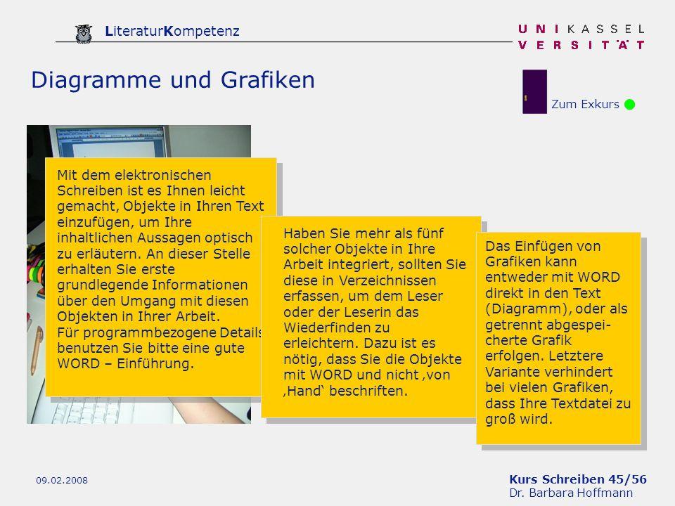 Kurs Schreiben 45/56 Dr. Barbara Hoffmann LiteraturKompetenz 09.02.2008 Zum Exkurs Diagramme und Grafiken Mit dem elektronischen Schreiben ist es Ihne
