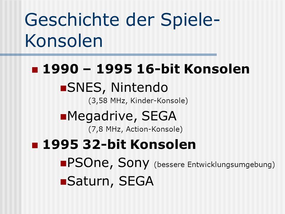 Geschichte der Spiele- Konsolen 1990 – 1995 16-bit Konsolen SNES, Nintendo (3,58 MHz, Kinder-Konsole) Megadrive, SEGA (7,8 MHz, Action-Konsole) 1995 3