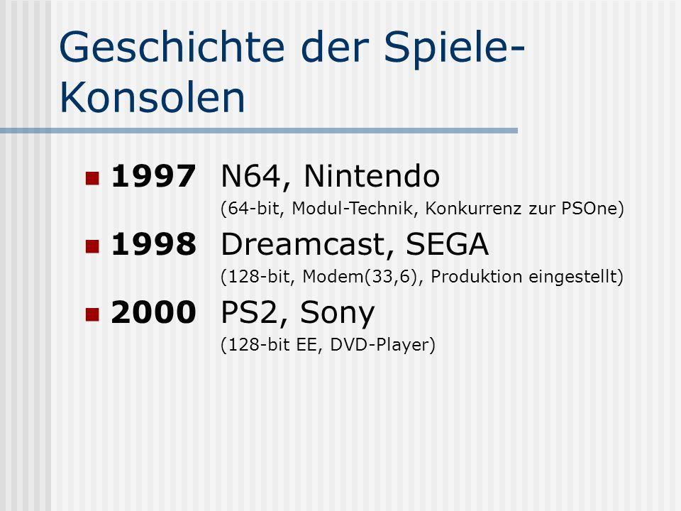 Geschichte der Spiele- Konsolen 1997N64, Nintendo (64-bit, Modul-Technik, Konkurrenz zur PSOne) 1998Dreamcast, SEGA (128-bit, Modem(33,6), Produktion