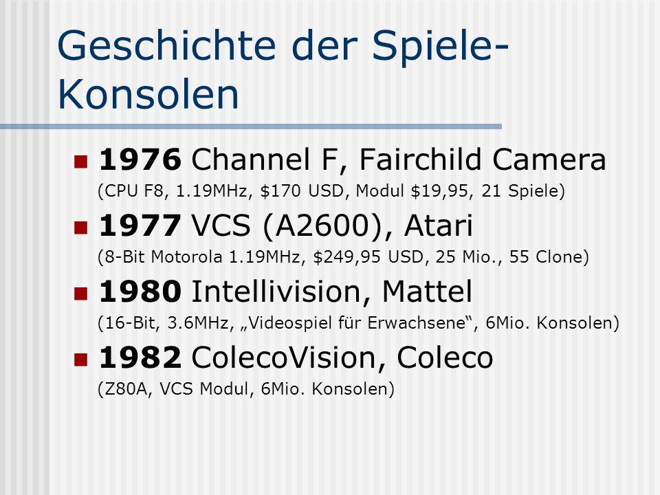 Geschichte der Spiele- Konsolen 1976 Channel F, Fairchild Camera (CPU F8, 1.19MHz, $170 USD, Modul $19,95, 21 Spiele) 1977 VCS (A2600), Atari (8-Bit M