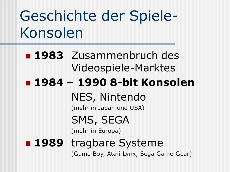 Geschichte der Spiele- Konsolen 1983Zusammenbruch des Videospiele-Marktes 1984 – 1990 8-bit Konsolen NES, Nintendo (mehr in Japan und USA) SMS, SEGA (