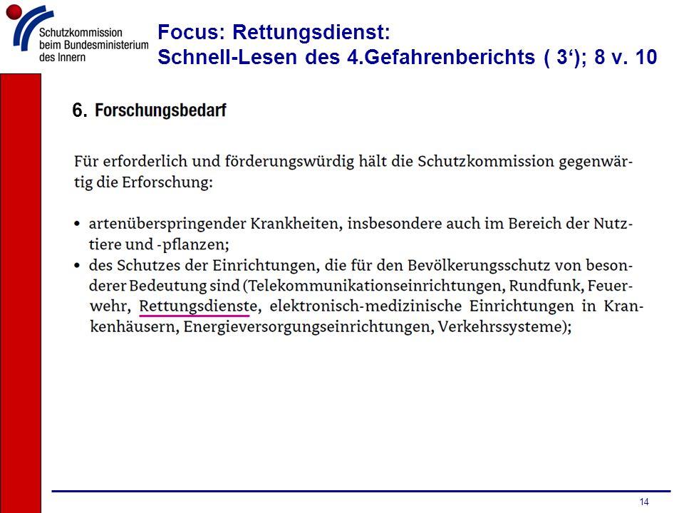 14 Focus: Rettungsdienst: Schnell-Lesen des 4.Gefahrenberichts ( 3); 8 v. 10 6.