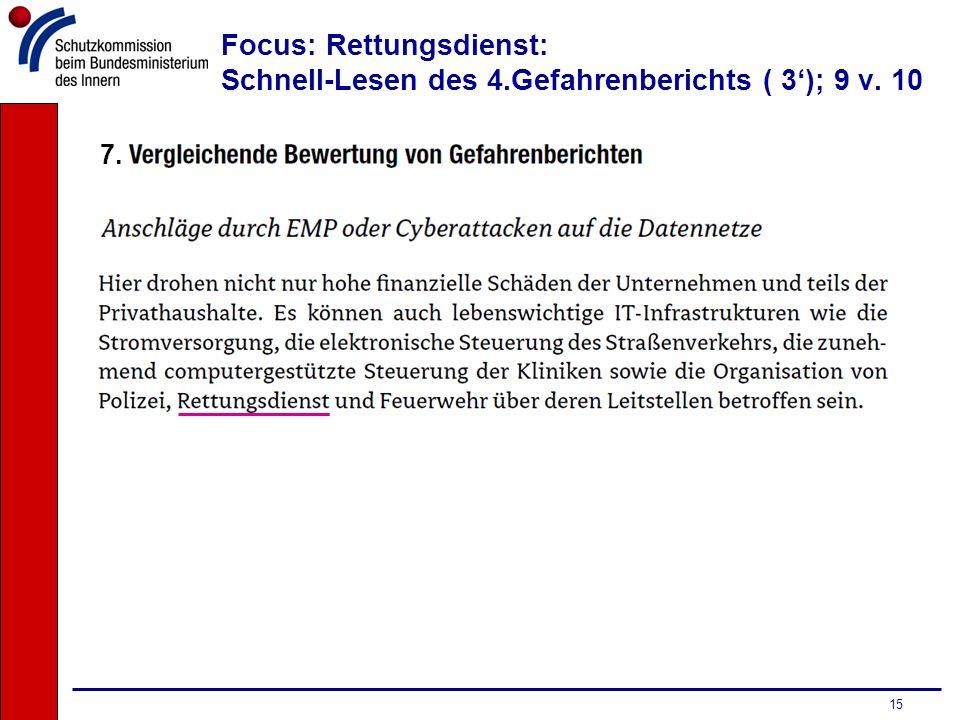 15 Focus: Rettungsdienst: Schnell-Lesen des 4.Gefahrenberichts ( 3); 9 v. 10 7.