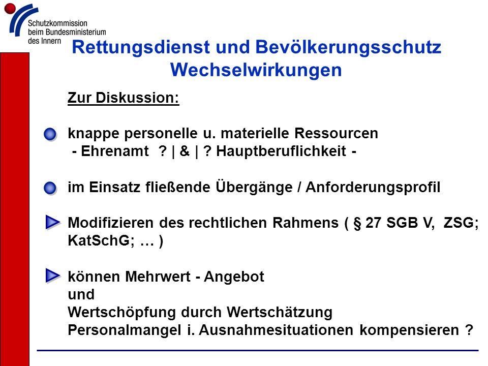 Rettungsdienst und Bevölkerungsschutz Wechselwirkungen Zur Diskussion: knappe personelle u. materielle Ressourcen - Ehrenamt ?   &   ? Hauptberuflichk