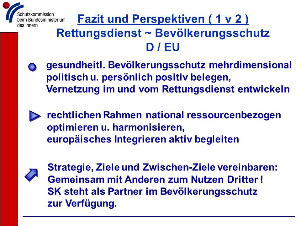 Fazit und Perspektiven ( 1 v 2 ) Rettungsdienst ~ Bevölkerungsschutz D / EU rechtlichen Rahmen national ressourcenbezogen optimieren u. harmonisieren,