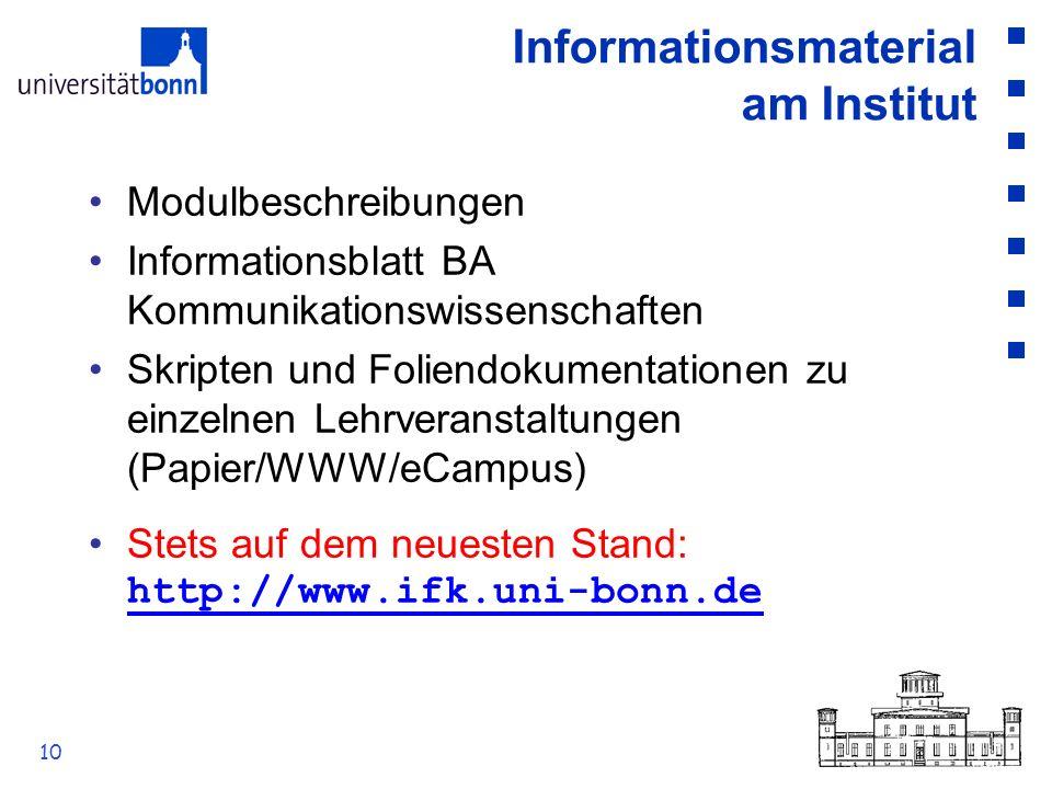 10 Informationsmaterial am Institut Modulbeschreibungen Informationsblatt BA Kommunikationswissenschaften Skripten und Foliendokumentationen zu einzel