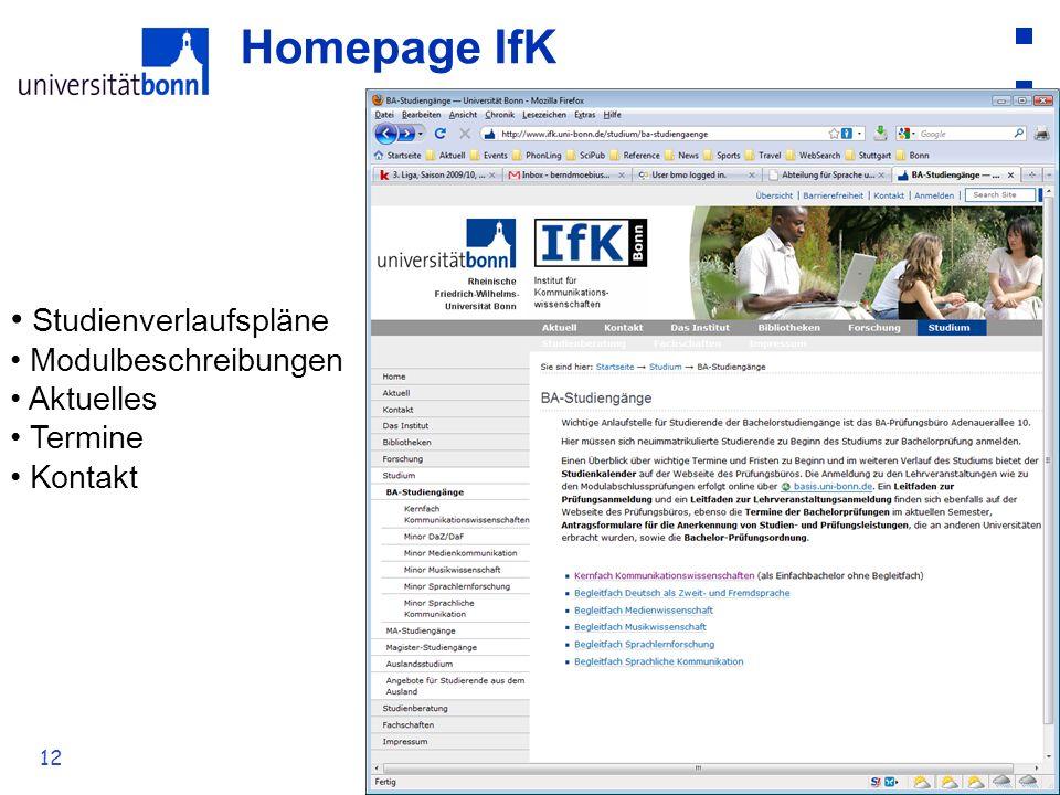 12 Homepage IfK Studienverlaufspläne Modulbeschreibungen Aktuelles Termine Kontakt