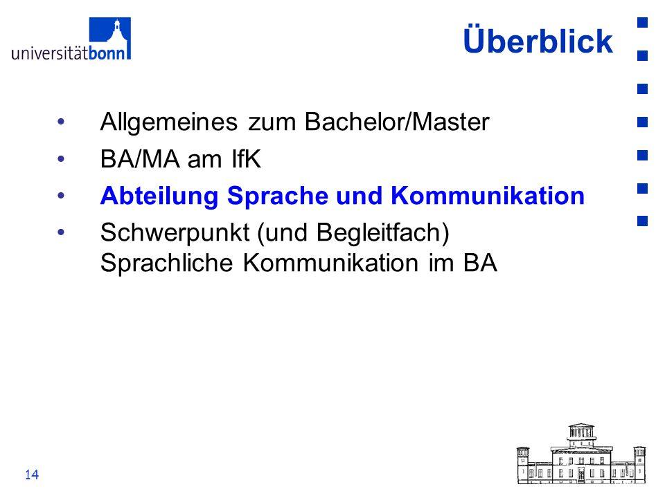 14 Überblick Allgemeines zum Bachelor/Master BA/MA am IfK Abteilung Sprache und Kommunikation Schwerpunkt (und Begleitfach) Sprachliche Kommunikation