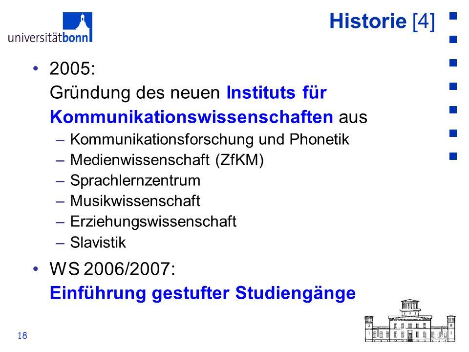 18 Historie [4] 2005: Gründung des neuen Instituts für Kommunikationswissenschaften aus –Kommunikationsforschung und Phonetik –Medienwissenschaft (ZfK