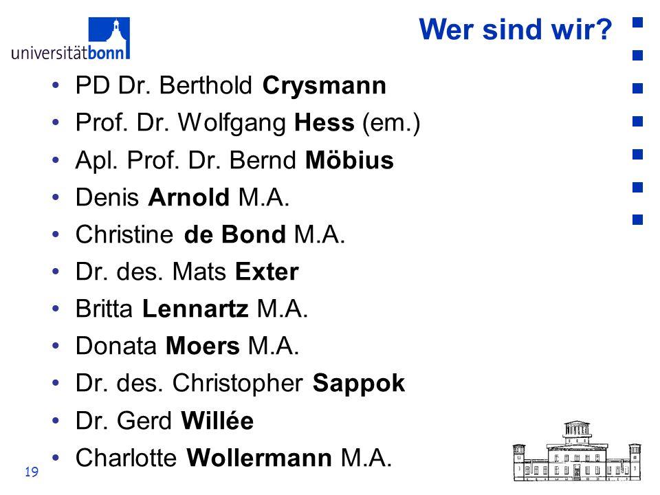 19 Wer sind wir? PD Dr. Berthold Crysmann Prof. Dr. Wolfgang Hess (em.) Apl. Prof. Dr. Bernd Möbius Denis Arnold M.A. Christine de Bond M.A. Dr. des.
