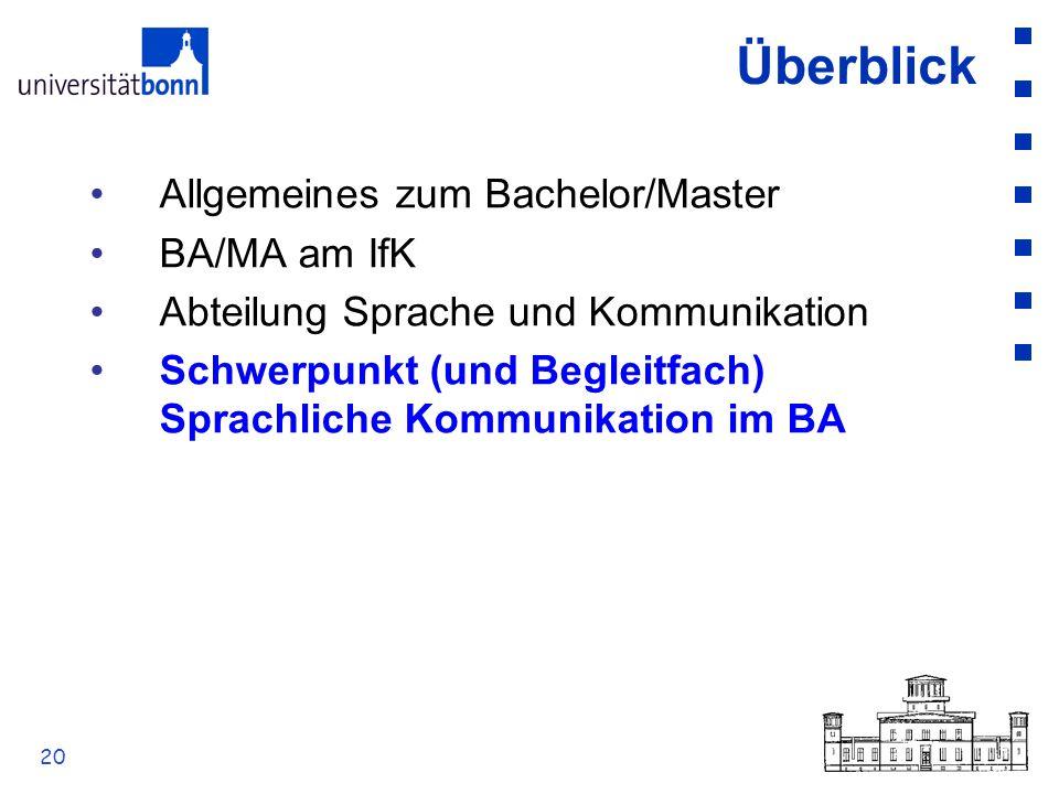 20 Überblick Allgemeines zum Bachelor/Master BA/MA am IfK Abteilung Sprache und Kommunikation Schwerpunkt (und Begleitfach) Sprachliche Kommunikation