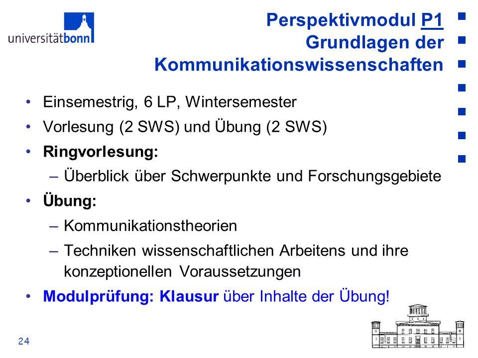 24 Perspektivmodul P1 Grundlagen der Kommunikationswissenschaften Einsemestrig, 6 LP, Wintersemester Vorlesung (2 SWS) und Übung (2 SWS) Ringvorlesung