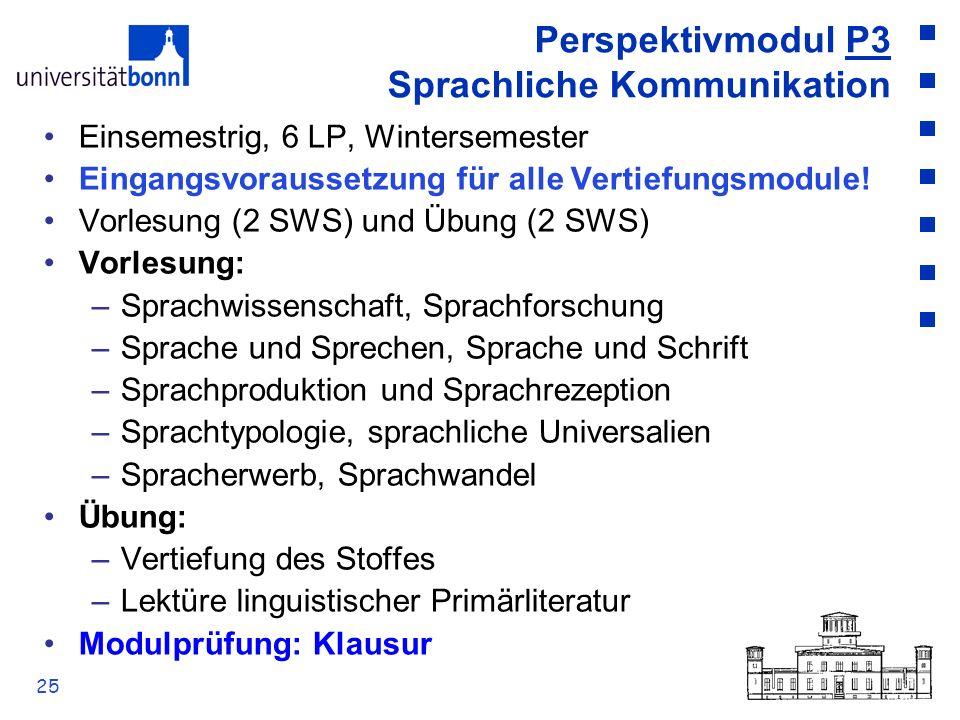 25 Perspektivmodul P3 Sprachliche Kommunikation Einsemestrig, 6 LP, Wintersemester Eingangsvoraussetzung für alle Vertiefungsmodule! Vorlesung (2 SWS)