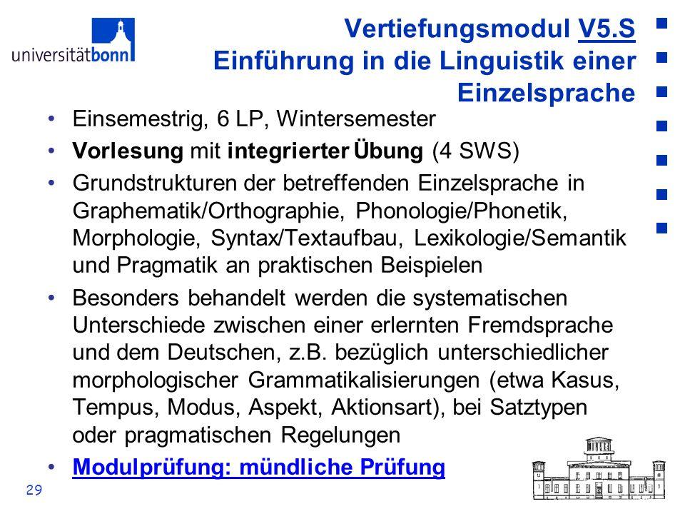 29 Vertiefungsmodul V5.S Einführung in die Linguistik einer Einzelsprache Einsemestrig, 6 LP, Wintersemester Vorlesung mit integrierter Übung (4 SWS)