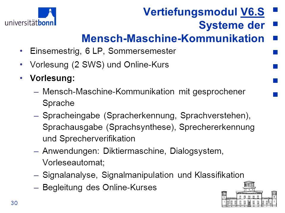 30 Vertiefungsmodul V6.S Systeme der Mensch-Maschine-Kommunikation Einsemestrig, 6 LP, Sommersemester Vorlesung (2 SWS) und Online-Kurs Vorlesung: –Me