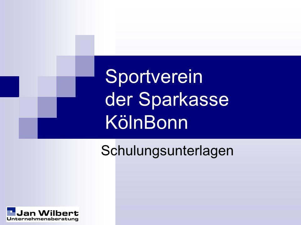 Sportverein der Sparkasse KölnBonn Schulungsunterlagen