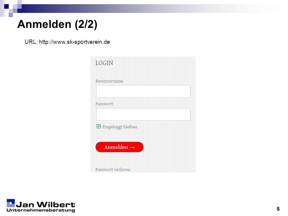 Anmelden (2/2) 5 URL: http://www.sk-sportverein.de