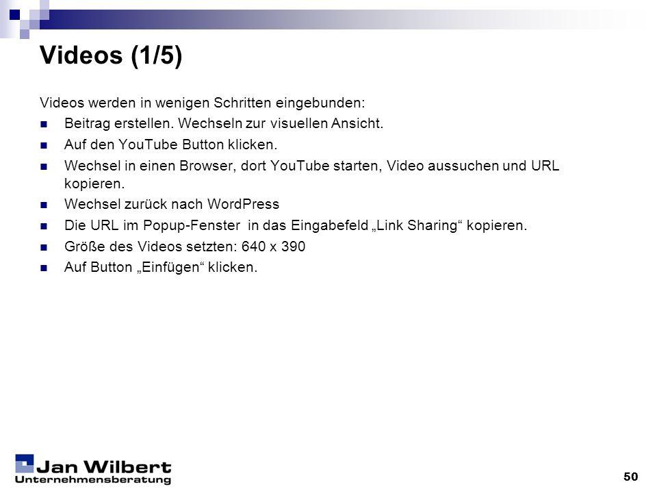 Videos (1/5) Videos werden in wenigen Schritten eingebunden: Beitrag erstellen. Wechseln zur visuellen Ansicht. Auf den YouTube Button klicken. Wechse