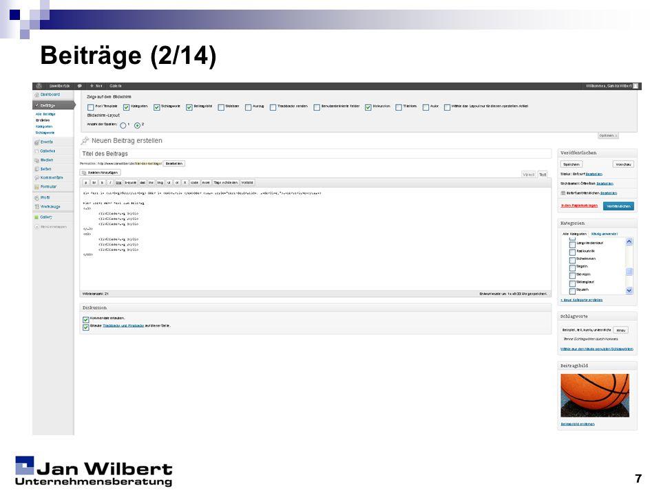 Beiträge (3/14) 8 Einrichtung der Beitragsseite: Unter Optionen können Komponenten der Seite ein- und ausgeblendet werden.
