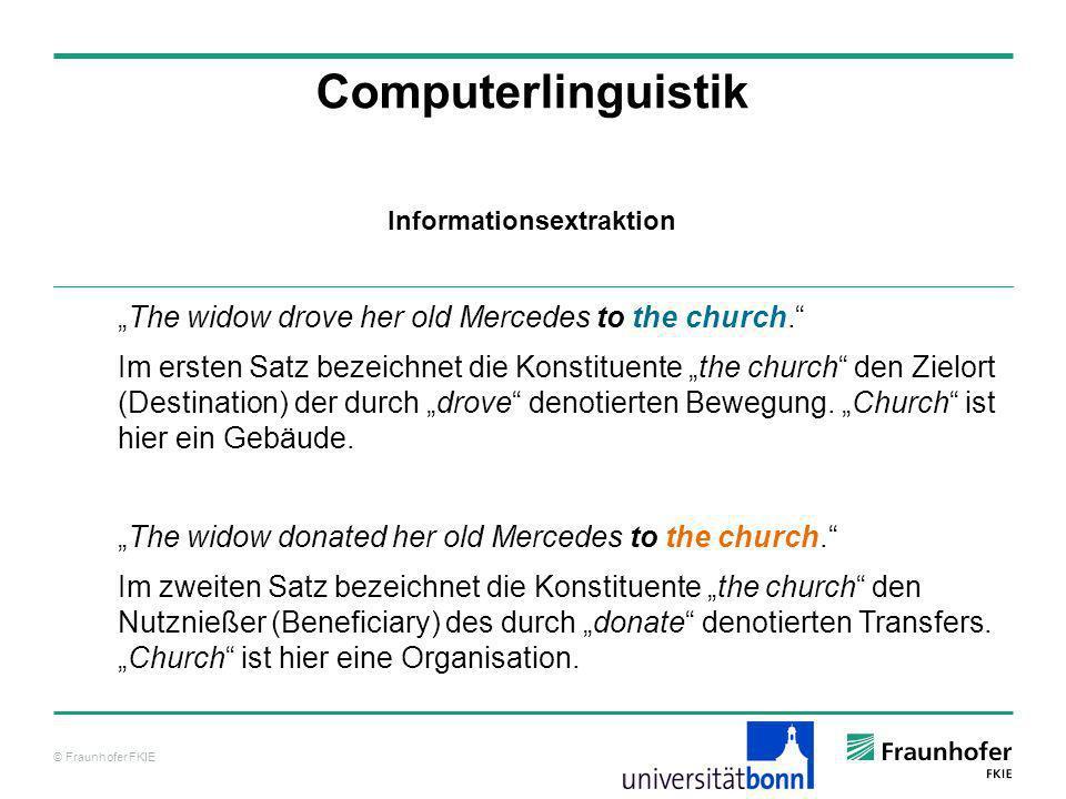 © Fraunhofer FKIE Computerlinguistik The widow drove her old Mercedes to the church. Im ersten Satz bezeichnet die Konstituente the church den Zielort