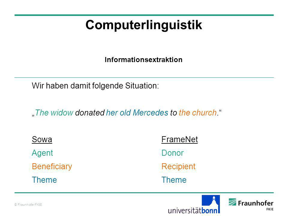 © Fraunhofer FKIE Computerlinguistik Wir haben damit folgende Situation: The widow donated her old Mercedes to the church. SowaFrameNet Agent Donor Be
